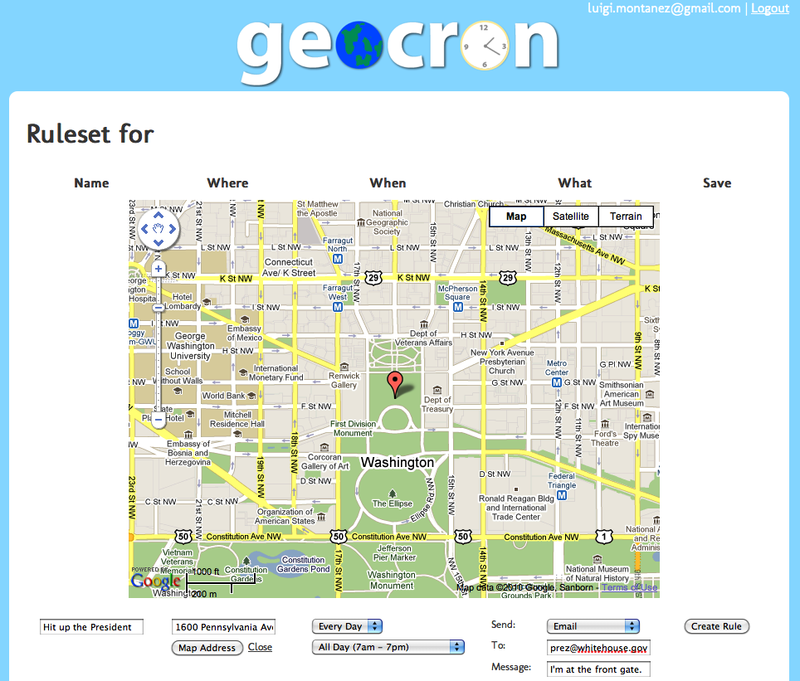 Rule creation screen in the geocron web application