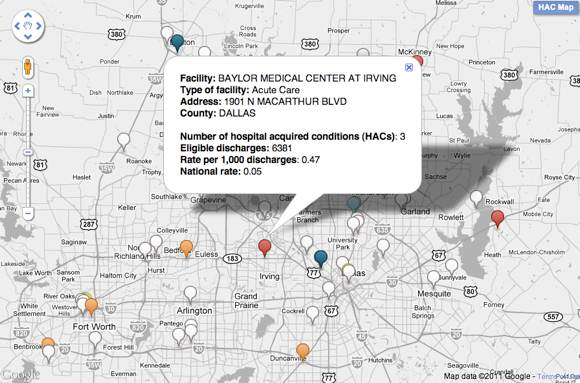 Hospital Acquired Conditions map -- detail