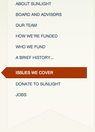 A screenshot of the 'Issues We Cover' page in the Sunlight Foundation's About section of the website.