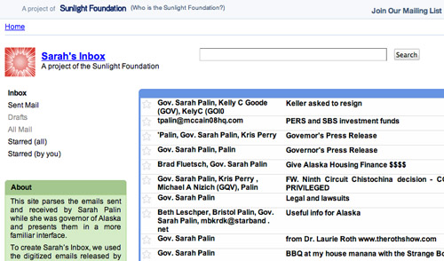A screenshot of Sarah's Inbox, a project of the Sunlight Foundation.