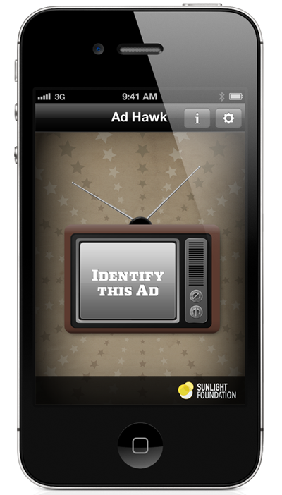 An image of an iPhone running the Sunlight Foundation's Ad Hawk application.