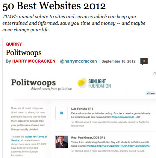 The Sunlight Foundation's Politwoops site is named one of TIME's 50 Best Websites of 2012.