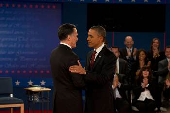 President Obama and Mitt Romney at earlier debate