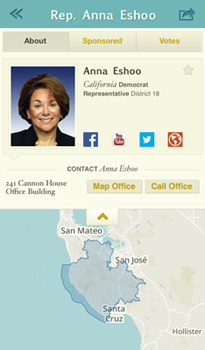 A screenshot of Rep. Ann Eshoo's profile from the Sunlight Foundation's new Congress app for iOS devices.
