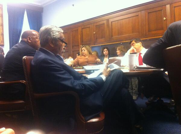A photo posted and deleted from the Twitter account of Rep. Linda T. Sánchez, D-Calif., of a Ways and Means Caucus meeting.
