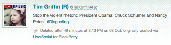 Rep. Tim Griffin, R-Ark., deleted tweet archived by Politwoops: