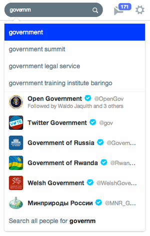 "Searching ""government"" in Twitter's autocomplete field yields easy results."