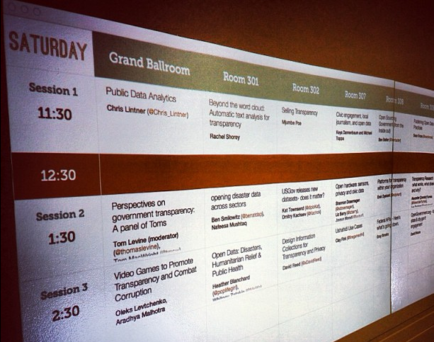The wall of TransparencyCamp, a projected schedule with boxes of session topics.