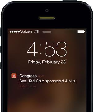 iPhone lock screen showing a notification that Sen. Ted Cruz has sponsored four bills