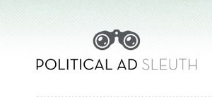 Stylized drawing of a pair of binoculars over the words Political Ad Sleuth