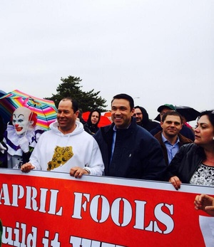 A deleted image from Rep. Michael Grimm, R-N.Y., that shows him marching with a creepy clown.