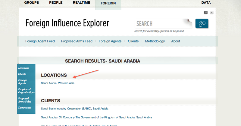 Screenshot from Foreign Influence Explorer showing search results for Saudi Arabia