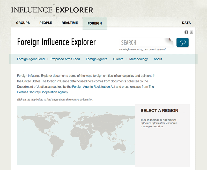 Image of world map on home page of Foreign Influence Explorer