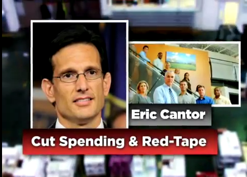 Screenshot from a pro-Eric Cantor TV ad run by the American Chemistry Council, which says the congressman cut spending and red tape