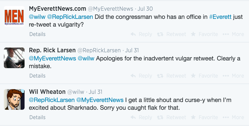 A series of tweets about a recent deletion caught by Politwoops from Rep. Rick Larsen, D-Wash.