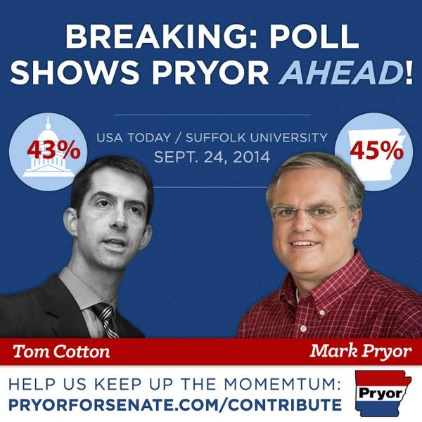 A deleted photo from a tweet of Sen. Mark Pryor that was caught by the Sunlight Foundation's Politwoops project and celebrates a rare poll showing him leading in the Arkansas senate race against Rep. Tom Cotton.