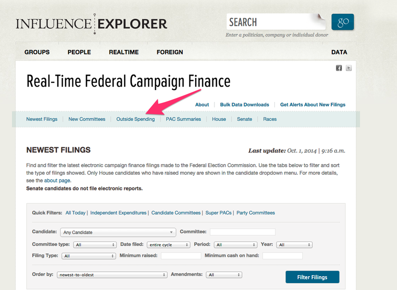 image of Real-time influence explorer home page with arrow pointing to outside spending tab