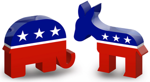Red white and blue symbols of an elephant and a donkey