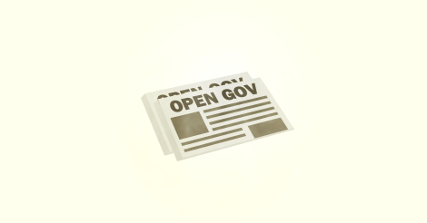 A newspaper with the headline Open Gov