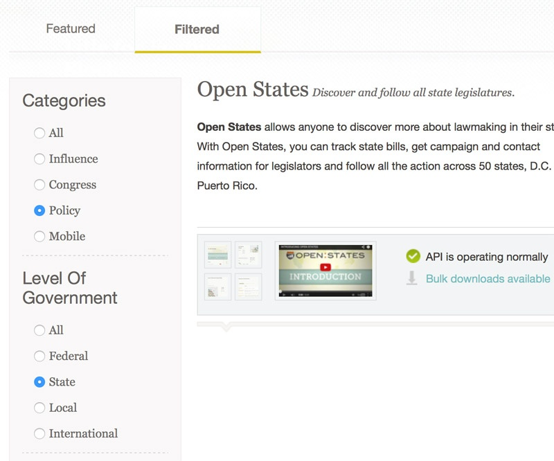 A screenshot of the filtering options on the new Sunlight Foundation tools page.
