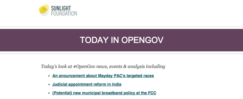 This is a screenshot of the new Today in OpenGov newsletter