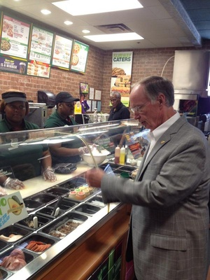A photo of Governor Robert Bentley, R-Ala., ordering food at a Subway that was deleted from his official Twitter feed.