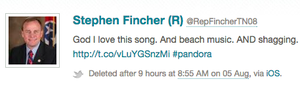 A deleted tweet about beach music and shagging from Rep. Stephen Fincher, R-Tenn., that came from his communications director Elizabeth Lauten.