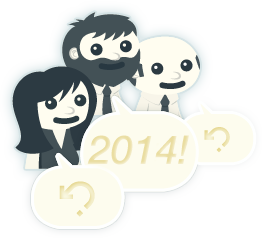 The Politwoops characters known as the twoopsters exclaiming the glory of 2014 in speech bubbles.
