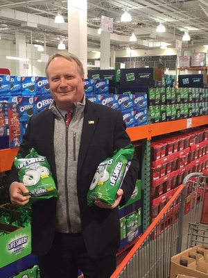 A photo of Rep. David Joyce, R-Ohio, that was deleted from his campaign Twitter account showing him cradling two large bags of Lifesavers in a Costco.