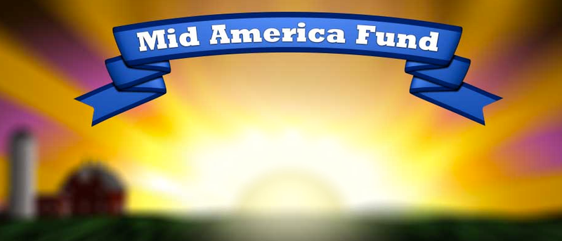 Logo of the Mid America Fund, showing the organization's name above the sun rising near a barn and a silo.