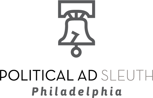 "A rendering of liberty bell over text that reads ""Political Ad Sleuth Philadelphia"""