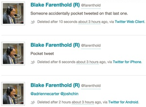 A deleted tweet along with explanations from the official Twitter account of Rep. Blake Farenthold, R-Texas.