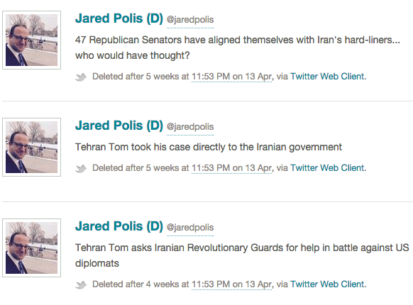 Three deleted tweets from the account of Rep. Jared Polis, D-Colo., that were archived in Politwoops.