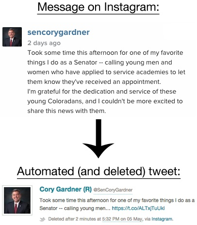 An Instagram message that caused an awkward truncation when sent via Twitter, which was later deleted from the official account of Sen. Cory Gardner, R-Colo.