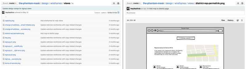 Committing design work like wireframes to Github repos
