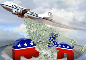 a plane dropping money on symbols of the Democratic and Republican party