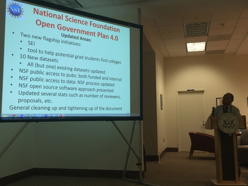 Jose Muñoz presents on the National Science Foundation's 2016 Open Government Plan at the National Archives