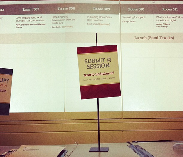 "A sign reading ""Submit a Session"" at TransparencyCamp."