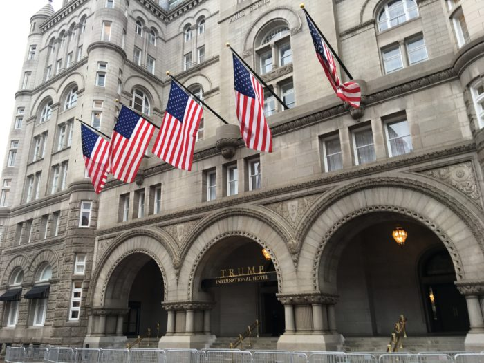 American flags flying outside of Trump International Hotel in Washington DC. December 12, 2016.