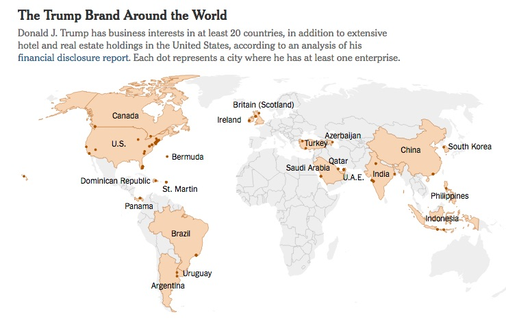 Trump has business interests in at least 20 countries around the world