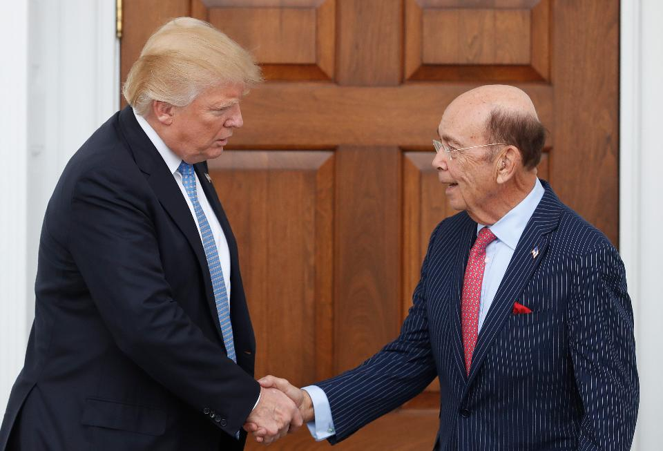 Donald Trump meets with Wilbur Ross, his pick for secretary of Commerce. Ross is one of several billionaires picked to be in the president-elect's Cabinet. (Photo credit: Wikimedia Commons)