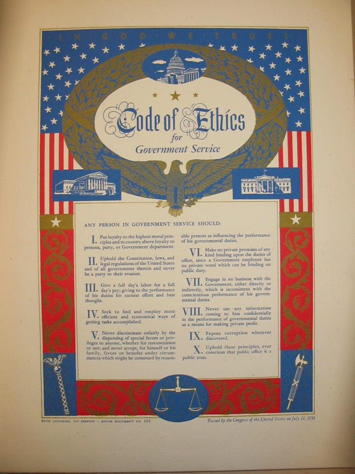 """Code of Ethics for Government Service,"" 1958"