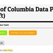 Screenshot of DC's draft data policy
