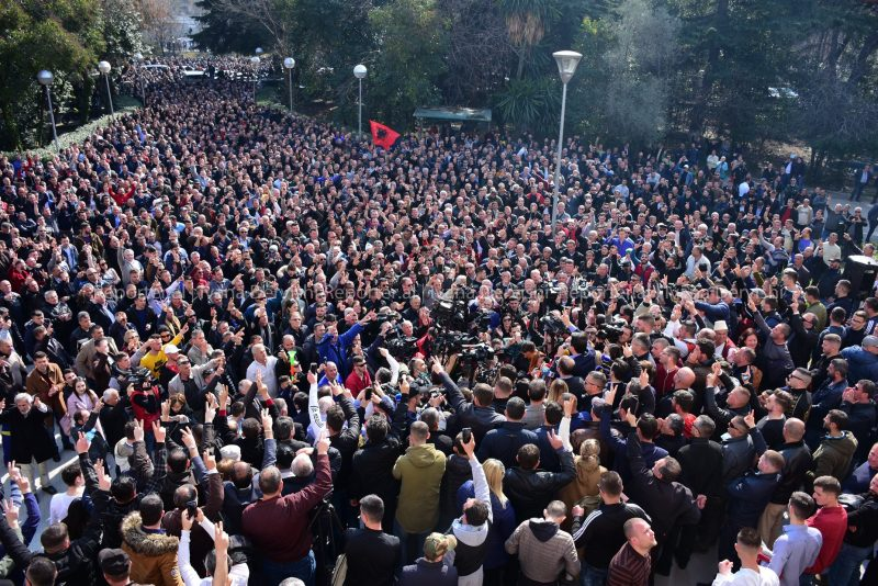 Albanian opposition protests in Tirana, 21 February 2019. Courtesy of Ivana Dervishi/BIRN Albania